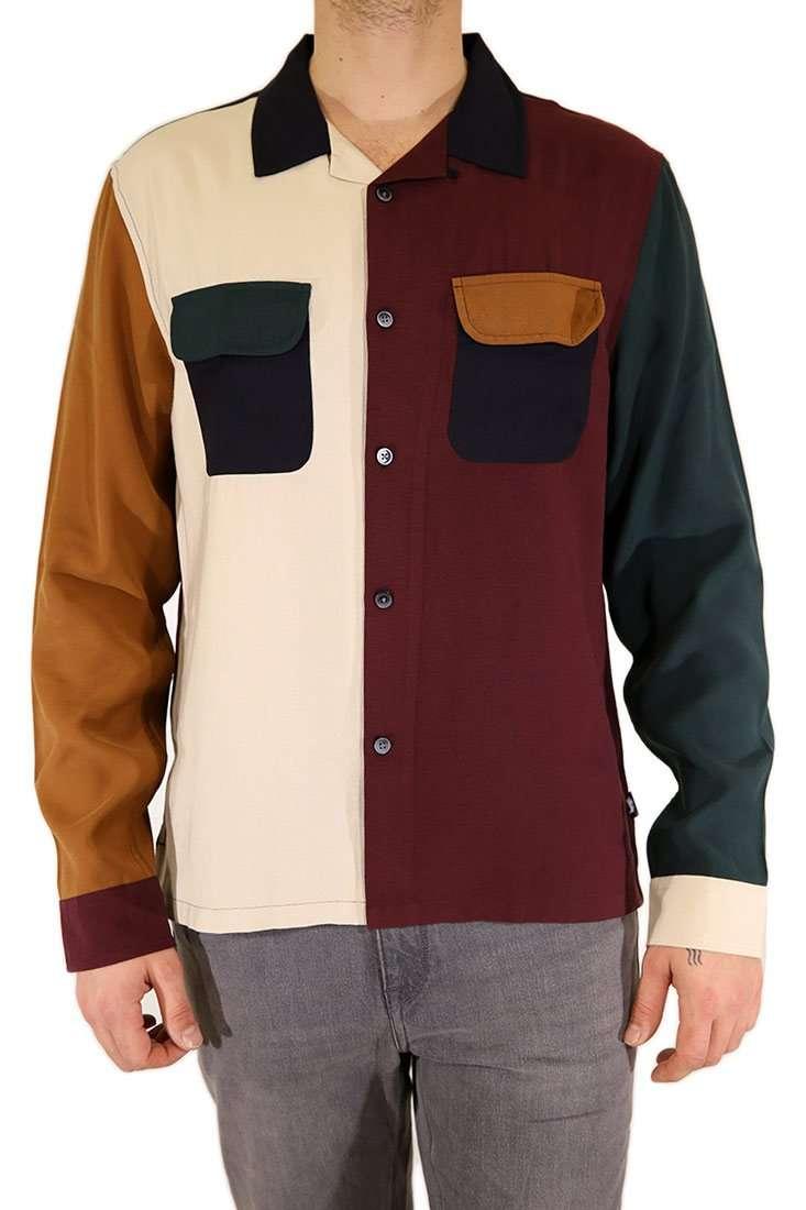 Stussy Hemd Langarm Color Block Rayon Shirt