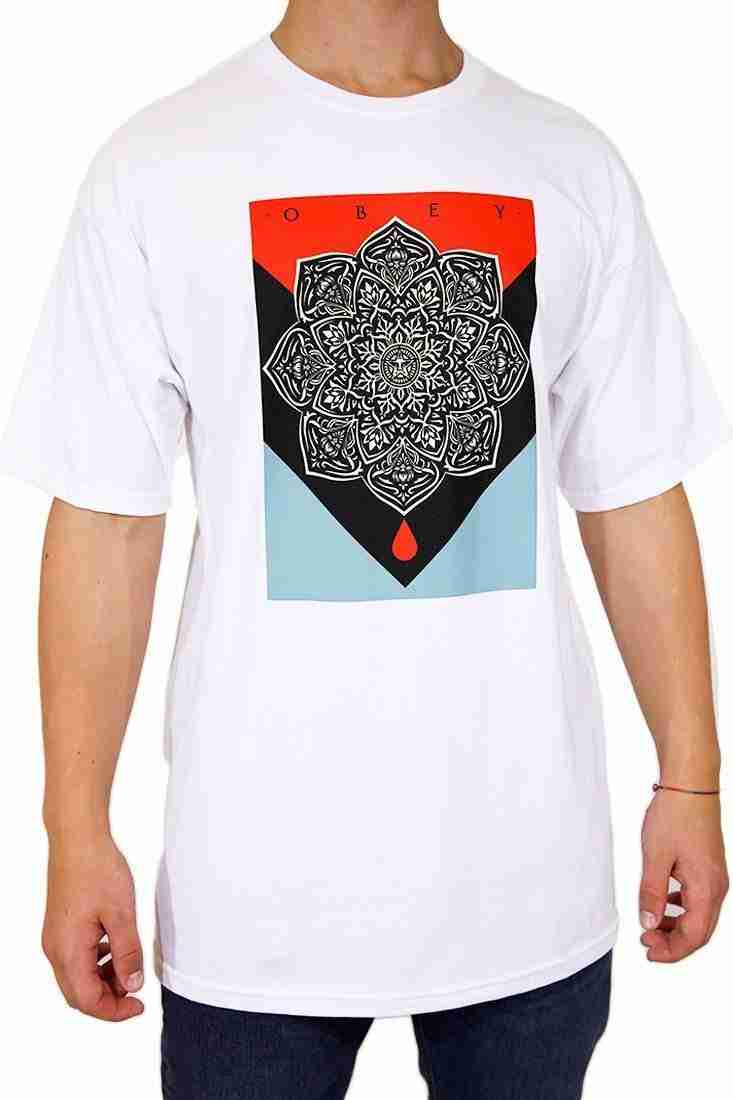 Obey T Shirt Blood and Oil Mandala